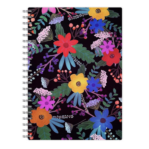 Black & Colourful Floral Pattern Notebook - Fun Cases