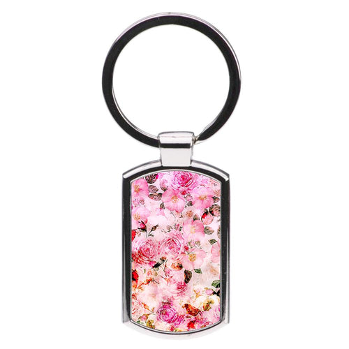 Pretty Pink Chic Floral Pattern Luxury Keyring