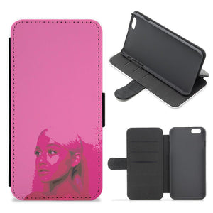 Dark Pink Arirana Grande Cartoon Flip / Wallet Phone Case
