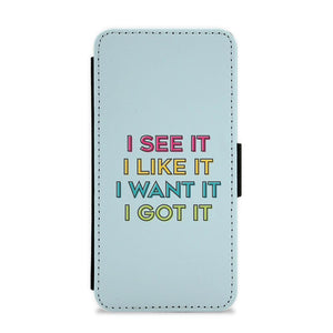 I See It, I Like It - Colourful Ariana Grande Flip / Wallet Phone Case