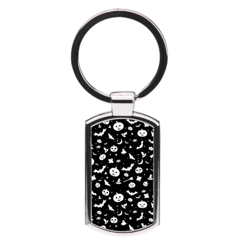 Black and White Halloween Pattern Luxury Keyring