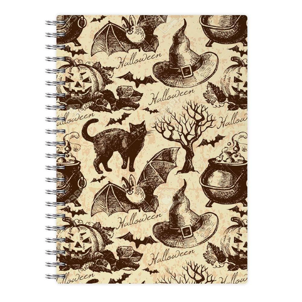 Vintage Halloween Pattern Notebook