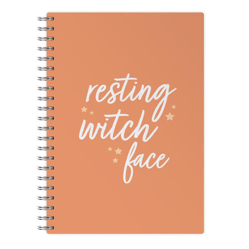 Resting Witch Face - Orange Halloween Notebook