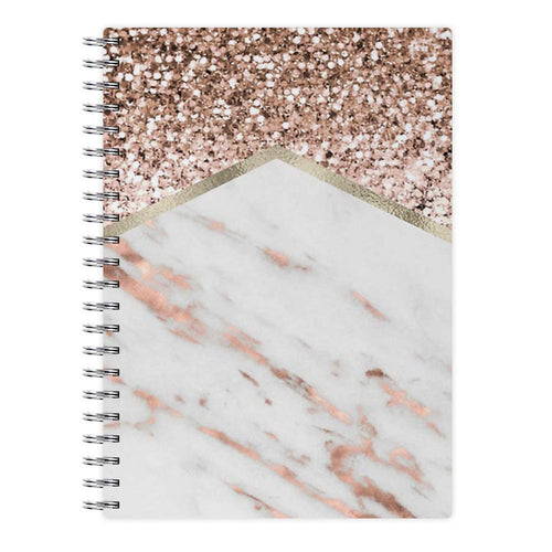 Rose Gold Marble & Glitter Notebook - Fun Cases