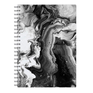 Black and White Leaking Marble Notebook - Fun Cases