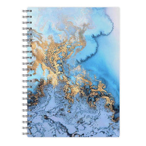 Sea Blue and Gold Marble Notebook - Fun Cases