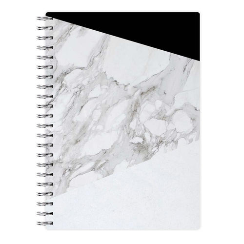 White, Black and Marble Pattern Notebook - Fun Cases