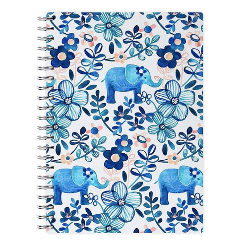 Elephant and Floral Pattern Notebook - Fun Cases