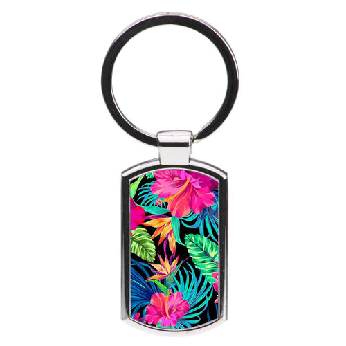 Colourful Hibiscus Pattern Luxury Keyring