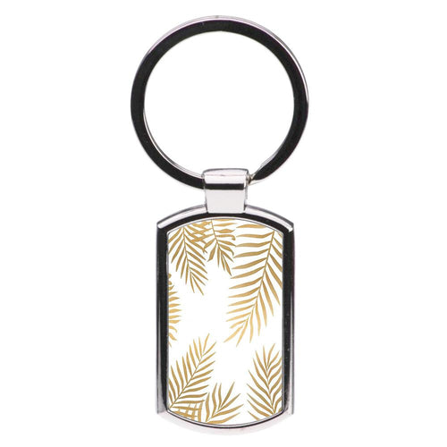 Gold Palm Leaf Pattern Luxury Keyring