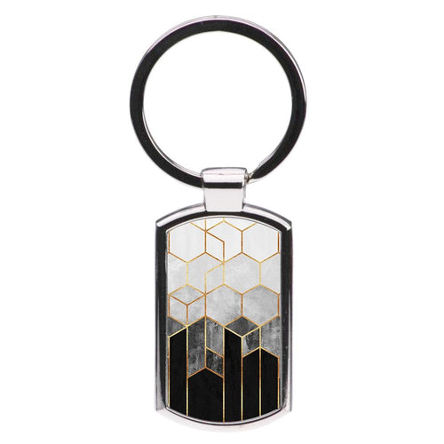 Black White & Gold Honeycomb Pattern Luxury Keyring