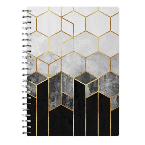 Black White & Gold Honeycomb Pattern Notebook