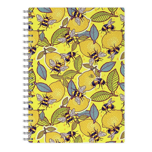 Yellow Lemon and Bee Notebook - Fun Cases