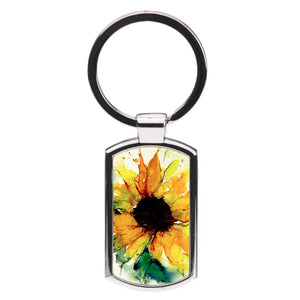 Watercolour Sunflower Luxury Keyring