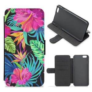Colourful Hibiscus Pattern Flip Wallet Phone Case - Fun Cases