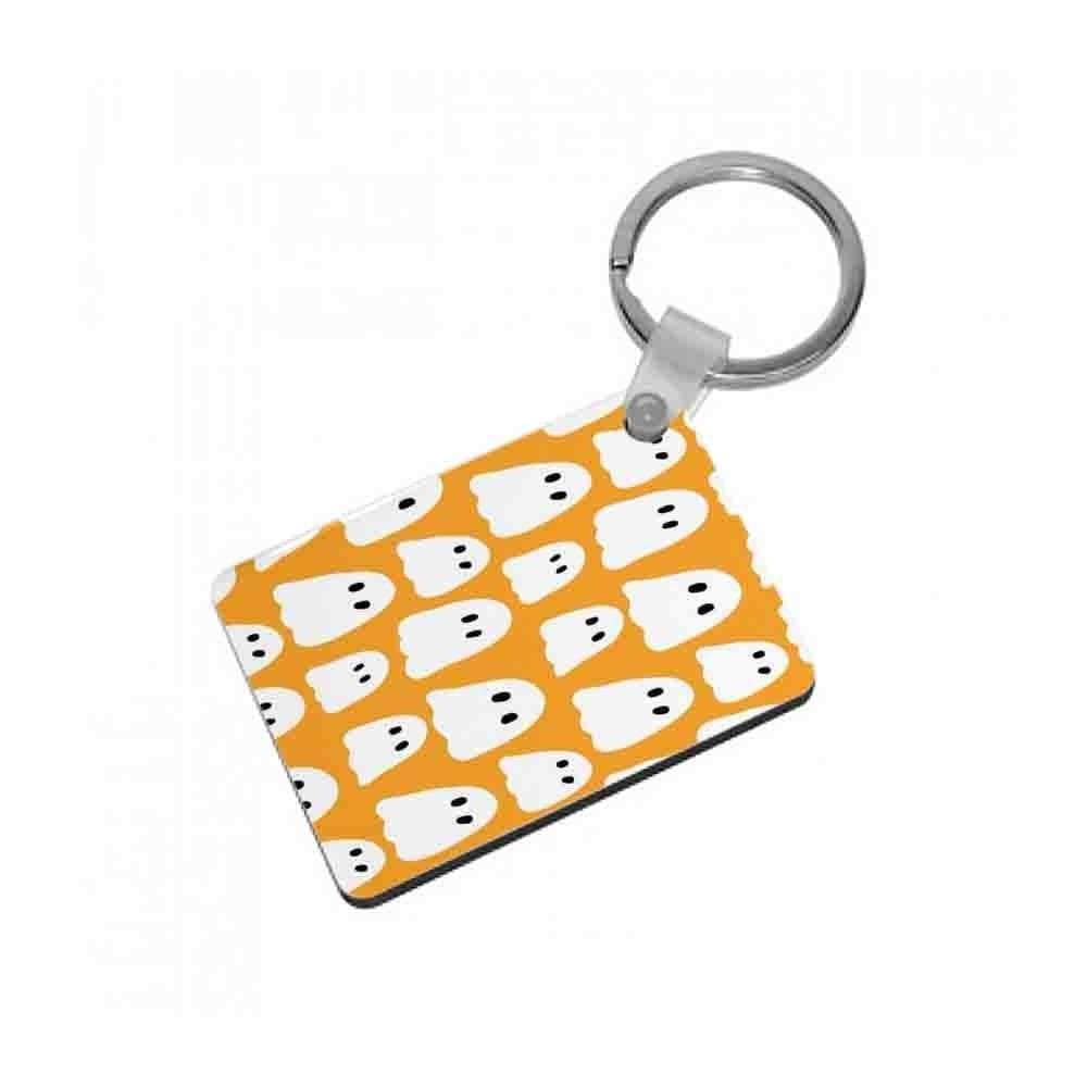 Orange Ghost Halloween Pattern Keyring - Fun Cases