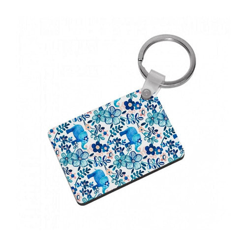 Elephant and Floral Pattern Keyring - Fun Cases