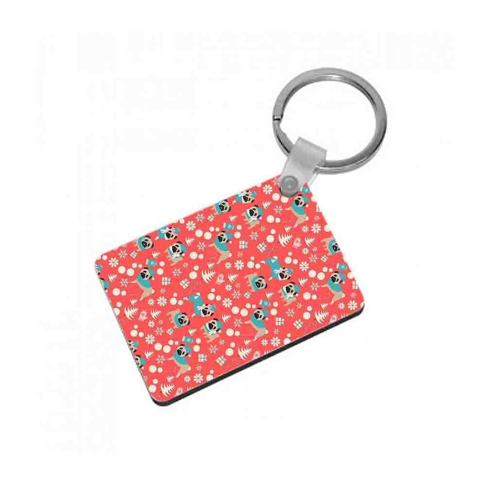 Christmas Pug Pattern Keyring - Fun Cases