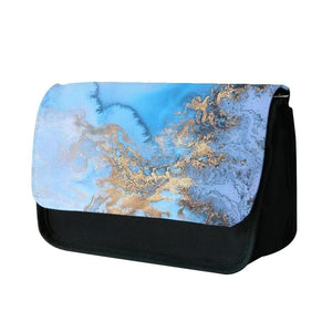 Sea Blue and Gold Marble Pencil Case - Fun Cases