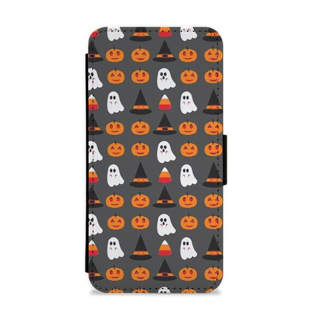 Pumpkin, Ghost, Candy Repeat Flip Wallet Phone Case