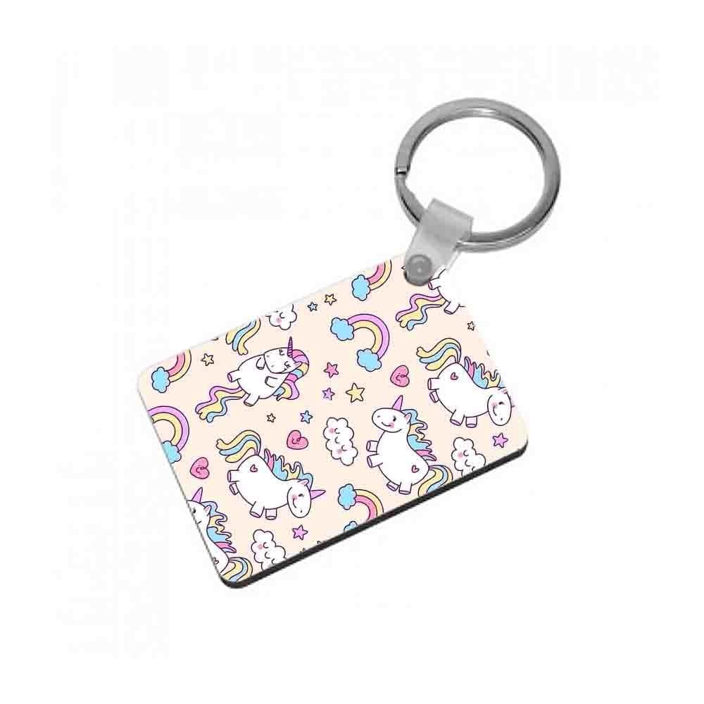 Cute Unicorn Pattern Keyring - Fun Cases