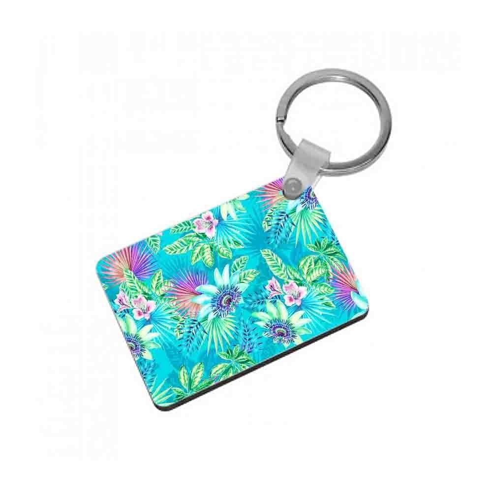 Blue Floral Pattern Keyring - Fun Cases