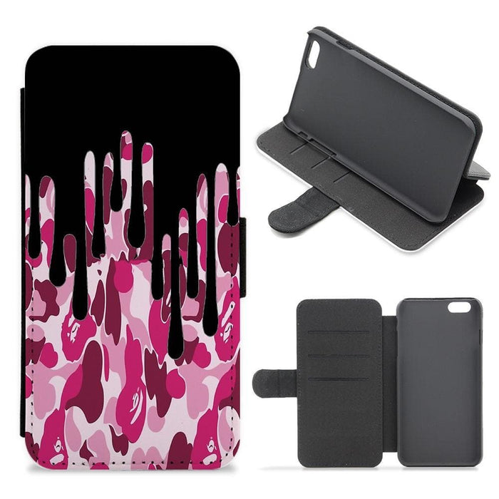 Kylie Jenner - Black & Pink Camo Dripping Cosmetics Flip / Wallet Phone Case - Fun Cases