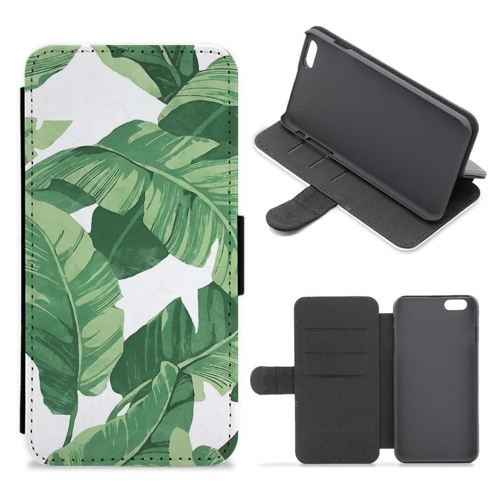Tropical Banana Leaf Pattern Flip Wallet Phone Case - Fun Cases