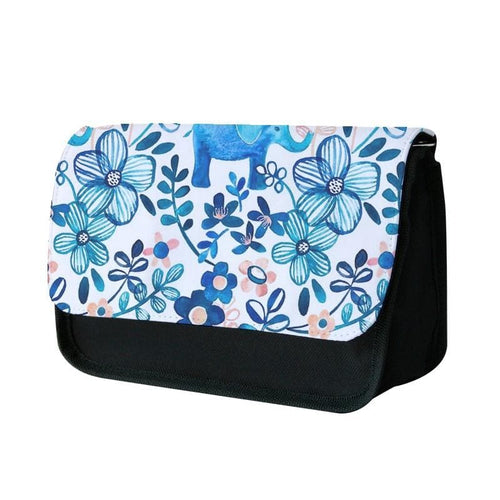 Elephant and Floral Pattern Pencil Case - Fun Cases