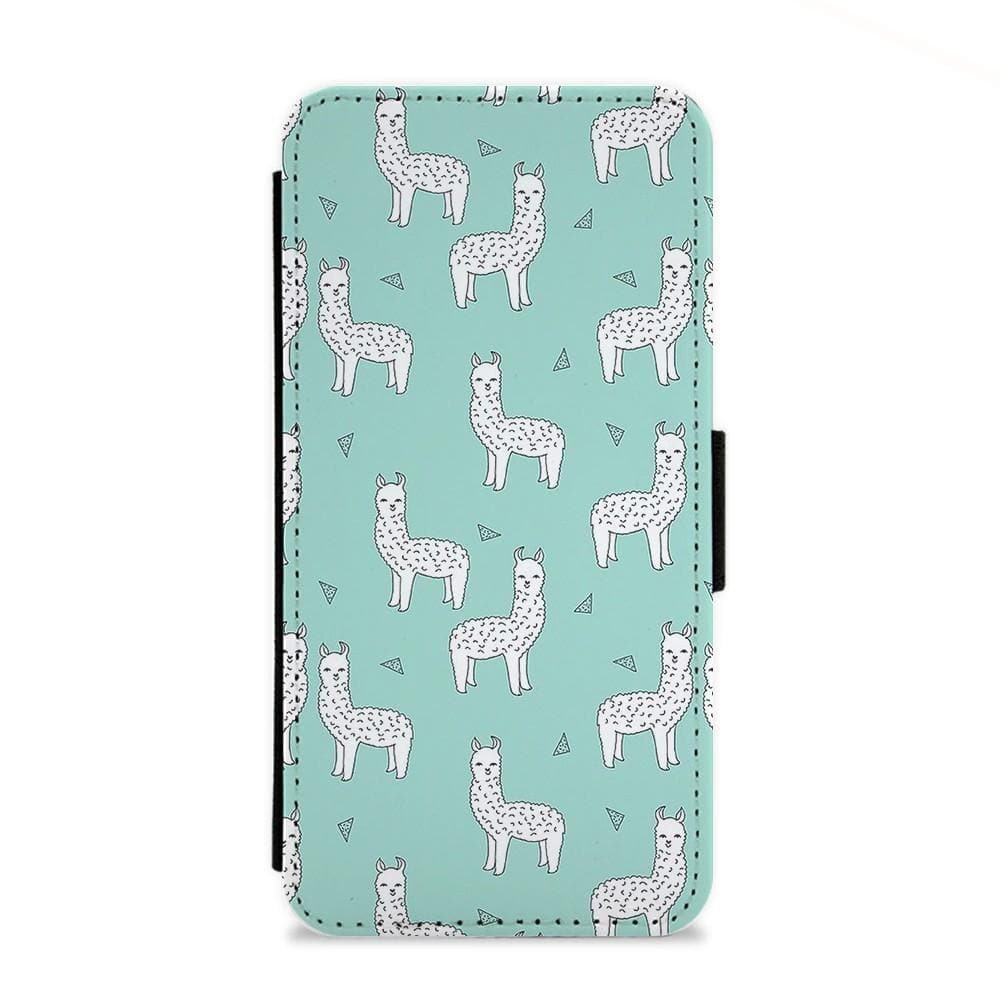 Mint Alpaca Pattern Flip Wallet Phone Case - Fun Cases