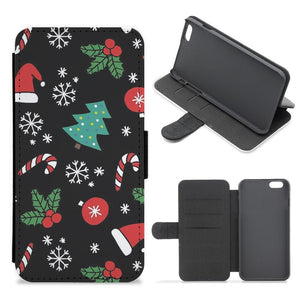 Christmas Objects Pattern Flip Wallet Phone Case
