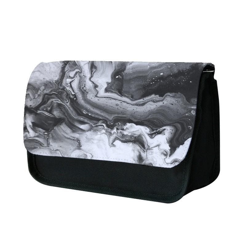 Black and White Leaking Marble Pencil Case - Fun Cases