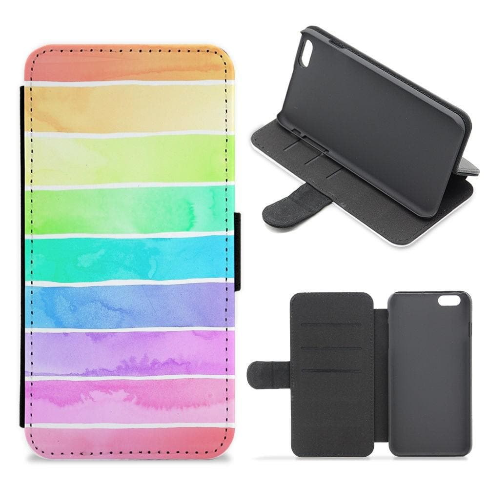 Summer Rainbow Stripes Flip Wallet Phone Case - Fun Cases