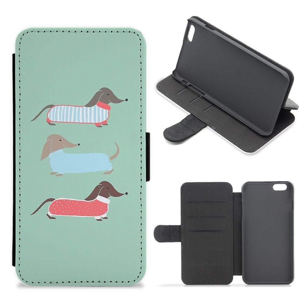Sausage Dogs in Jumpers Flip Wallet Phone Case - Fun Cases