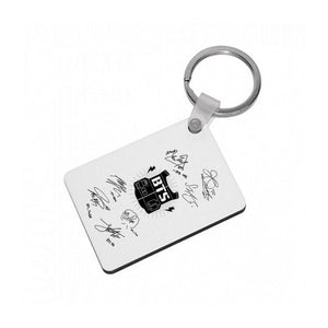 White BTS Army Logo and Signatures Keyring - Fun Cases