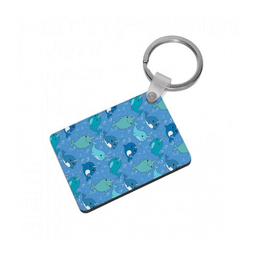 Narwhal Pattern Keyring - Fun Cases