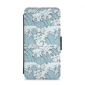 Japanese Waves Flip Wallet Phone Case - Fun Cases