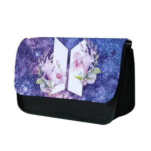 Galaxy Floral BTS Logo Pencil Case - Fun Cases