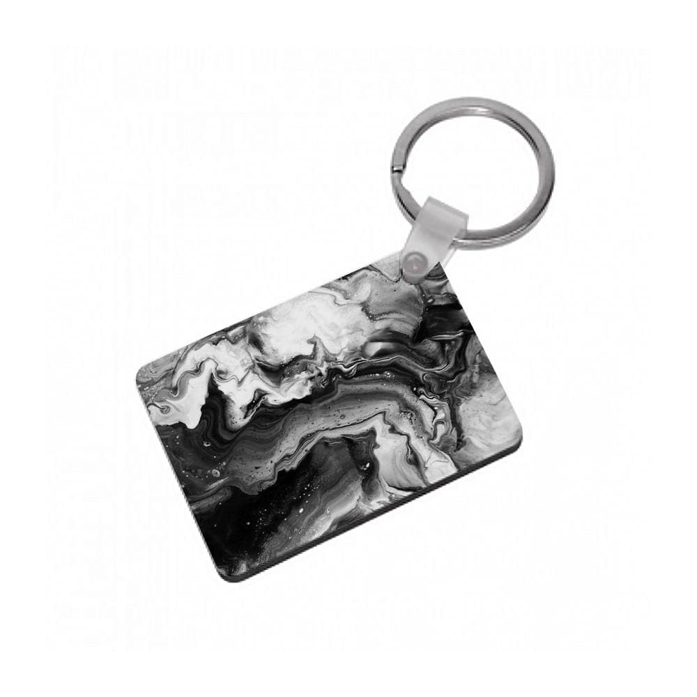Black and White Leaking Marble Keyring - Fun Cases