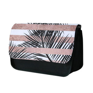 Rose Gold Tropical Palm Leaf Pattern Pencil Case
