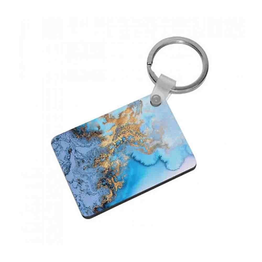 Sea Blue and Gold Marble Keyring - Fun Cases