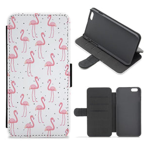 Pink Flamingo Pattern Flip / Wallet Phone Case - Fun Cases