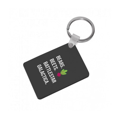 Bears. Beets. Battlestar Galactica Illustration - The Office Keyring - Fun Cases