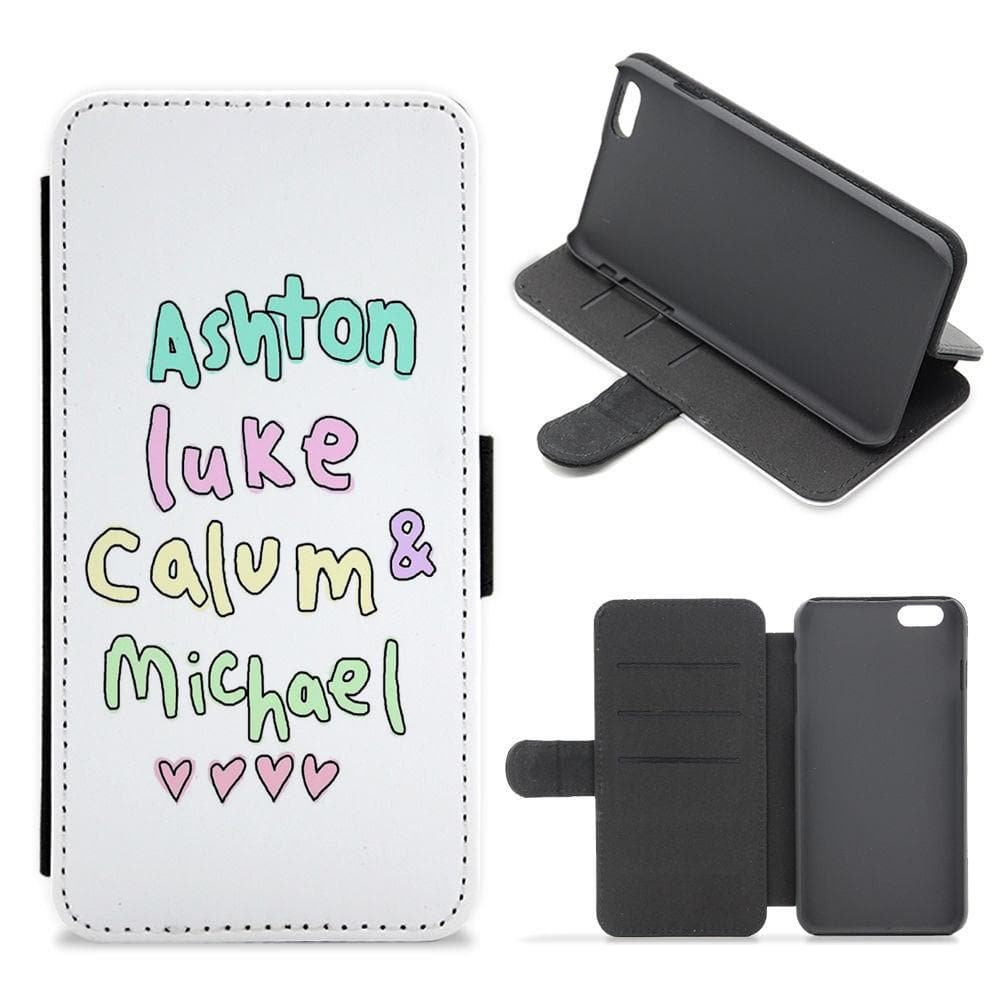 5 Seconds of Summer - Ashton, Luke, Calum & Michael Flip / Wallet Phone Case - Fun Cases