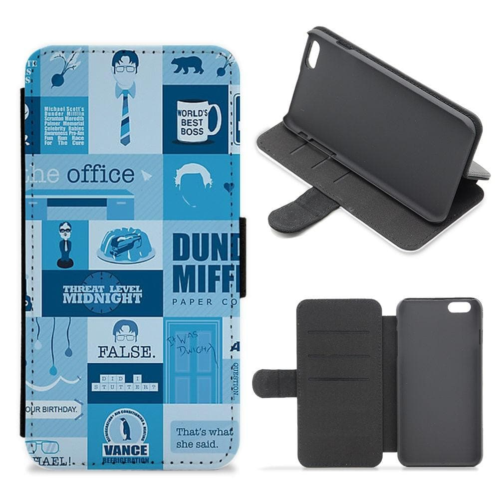 The Office Blue Patchwork Flip / Wallet Phone Case - Fun Cases