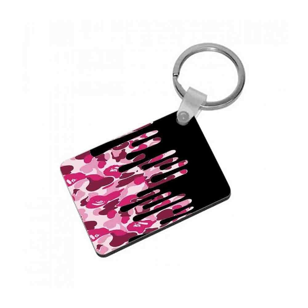 Kylie Jenner - Black & Pink Camo Dripping Cosmetics Keyring - Fun Cases