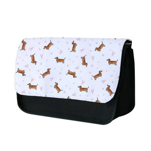 Dachshund Pattern - White Pencil Case - Fun Cases