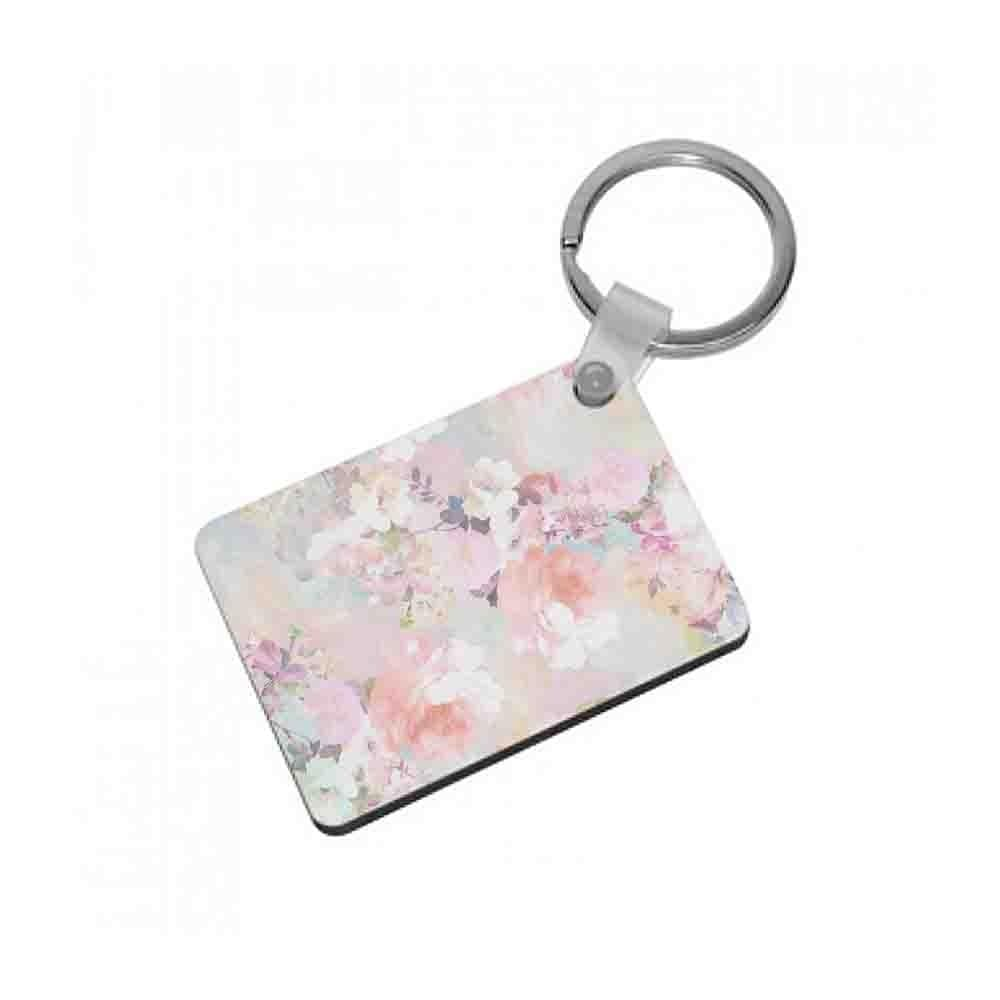 Pastel Pink Floral Pattern Keyring - Fun Cases