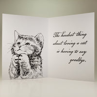 So Sorry For Your Loss, Sympathy Card for Cat with Inside Message
