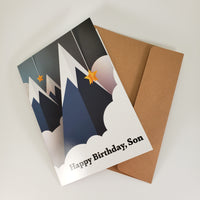 Paper Mountains Birthday Card to Son (from both parents or single parent)